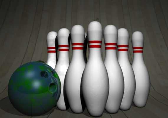This is is a 3D render done in Maya 2013 of a bowling ball and pins.
