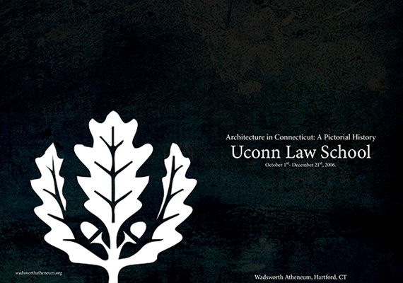 This is the front cover of a brochure detailing the archetecture of the Uconn Law School in Hartford, CT.