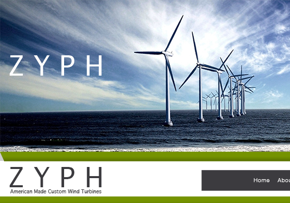 A mockup of a site for the purchase of wind turbines for both personal and comercial use.
